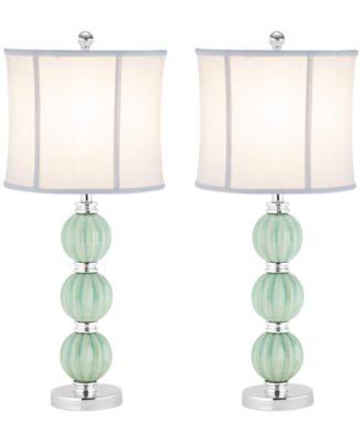 Safavieh Set of 2 Stephanie Green Globe Lamps