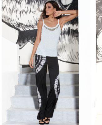 Conceptos INC Internacionales moldeado sin mangas Top & Tie-Dye Wide-Pantalón de pierna suaves