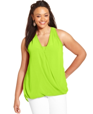 Eyeshadow Plus Size Sleeveless Draped Faux-Wrap Top