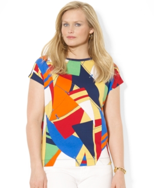 Lauren Ralph Lauren Plus Size Short-Sleeve Flag-Print Tee