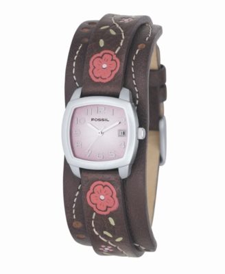 Fossil Watch, Women's Leather Flower Strap JR8780
