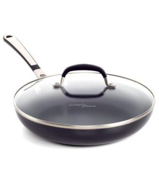"""Simply Calphalon Black Enamel Nonstick 10"""" Covered Omelette Pan"""
