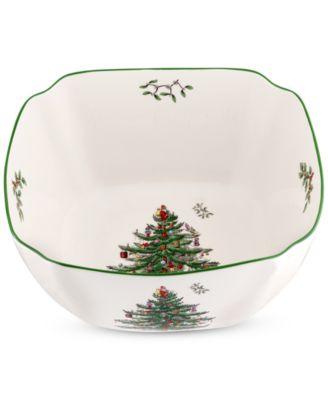 "Spode Christmas Tree Large Square Bowl 10"""