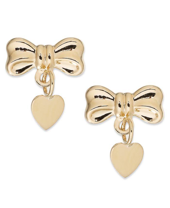 Macy's - Bow and Heart Drop Earrings in 14k Gold