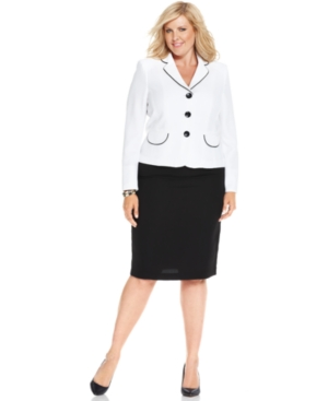 Evan Picone Plus Size Piped Crepe Skirt Suit