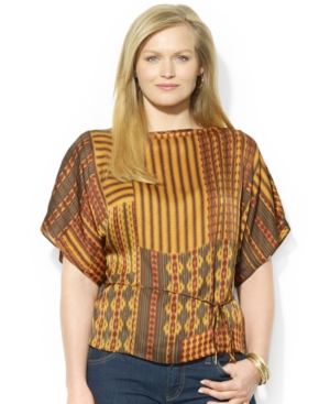 Lauren Ralph Lauren Plus Size Kimono-Sleeve Mixed-Print Silk Top