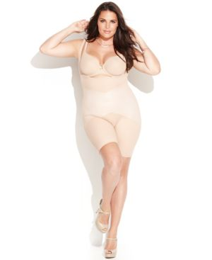 Star Power by Spanx Plus Size Firm Control Lady Luxe Open Bust Mid-Thigh Body Shaper 2181P (Only at Macy's)