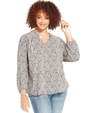 Lucky Brand Plus Size Floral-Print Top