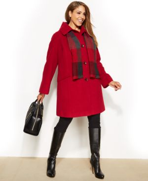 London Fog Plus Size Single-Breasted Wool-Blend Peacoat with Plaid Scarf