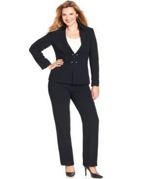 Tahari ASL Plus Size Navy Military Pantsuit