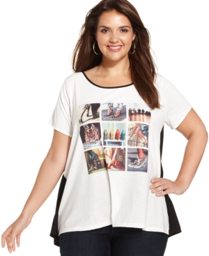 Style & co. Plus Size Shoe-Print Cheetah-Back Tee