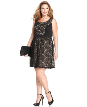 Love Squared Plus Size Sleeveless Lace A-Line Dress
