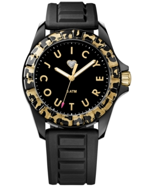 Juicy Couture Women's Juicy Sport Black Textured Silicone Strap Watch 40mm 1901161