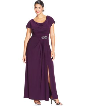 Patra Plus Size Flutter-Sleeve Jewel Gown
