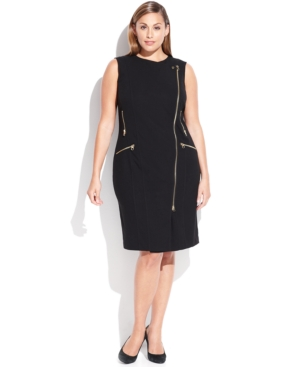 Calvin Klein Plus Size Zip-Front Moto Dress