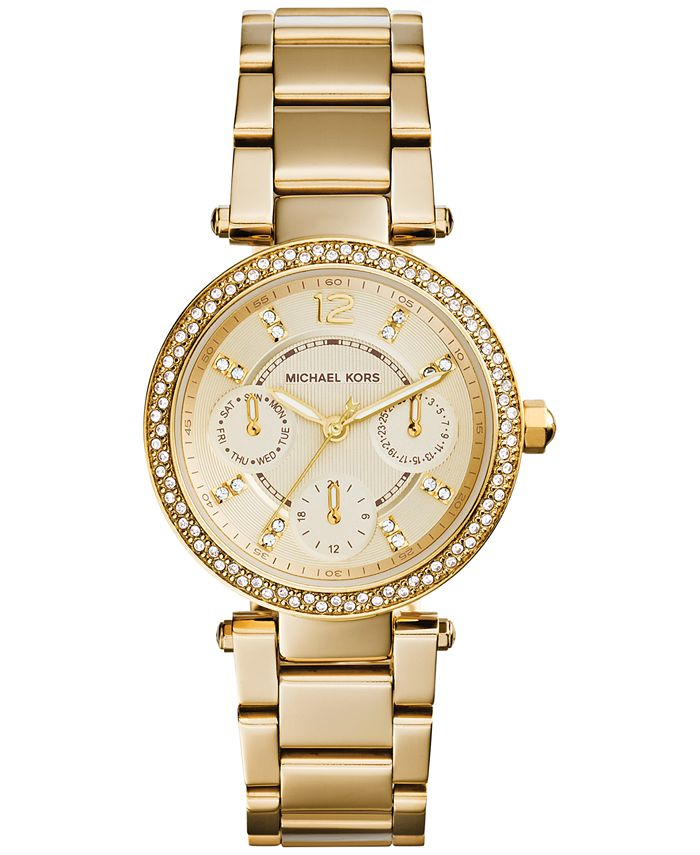 Michael Kors - Women's Chronograph Mini Parker Gold-Tone Stainless Steel Bracelet Watch 33mm MK6056