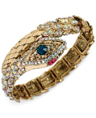 Betsey Johnson Gold-Tone Crystal Snake Wrap Stretch Bracelet