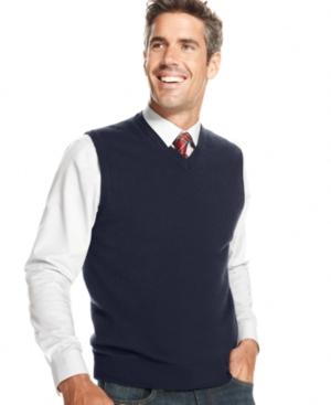 Men's Vintage Inspired Vests Club Room Mens Big and Tall Cashmere Solid Sweater Vest $89.99 AT vintagedancer.com