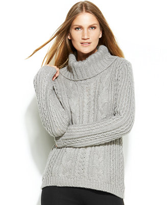 Calvin Klein Cable Knit Turtleneck Sweater Swimwear