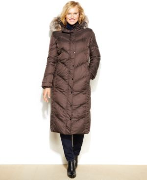 London Fog Plus Size Hooded Faux-Fur-Trim Down Maxi Puffer Coat