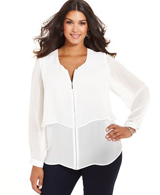 Zip Front Blouse Plus Size 105