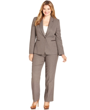 Tahari ASL Plus Size Elbow-Patch Checked Pantsuit