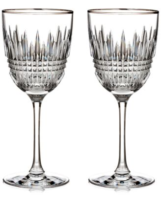 Waterford Lismore Diamond Platinum Wine Pair
