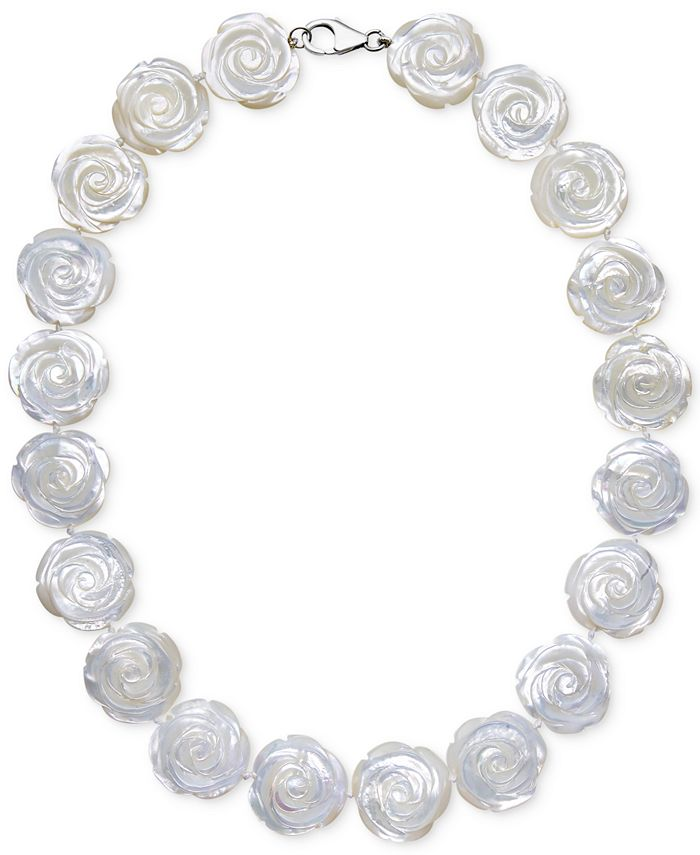 Macy's - Mother of Pearl Flower Collar Necklace in Sterling Silver (20mm)