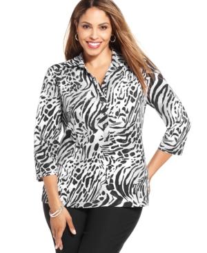 Alfani Plus Size Animal-Print Polo Shirt