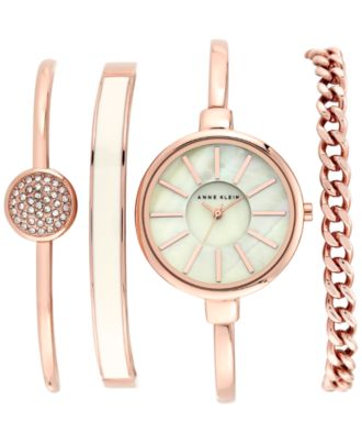 Anne Klein Women's Rose Gold-Tone Bracelet Watch Set 32mm AK/1470RGST