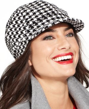 Charter Club Chenille Houndstooth Newsboy Hat