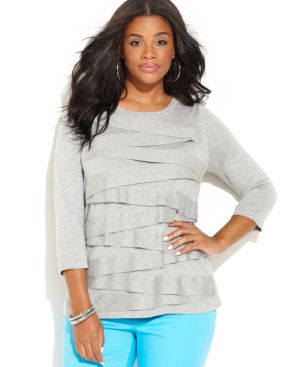 Vince Camuto Plus Size Scoop-Neck Ribbon-Trim Sweater