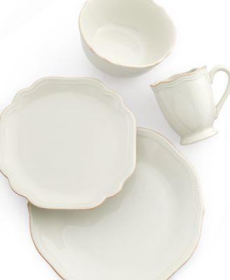 Dinnerware, French Perle Bead White Oval Platter