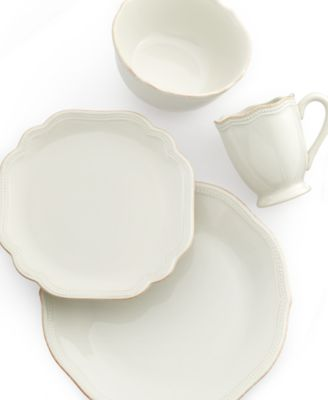 Lenox Dinnerware, French Perle Bead White 4-Piece Place Setting