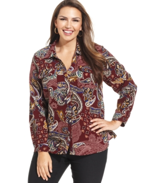 Ny Collection Plus Size Paisley-Print Button-Down Shirt