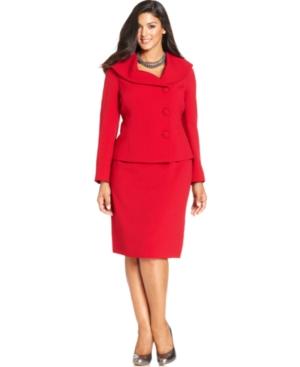 Tahari ASL Plus Size Shawl-Collar Asymmetrical-Front Skirt Suit