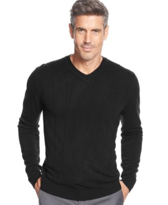 John Ashford Solid Long-Sleeve V-Neck Sweater