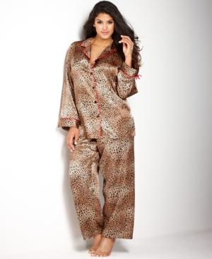 Morgan Taylor Plus Size Holiday Animal Print Pajama Set