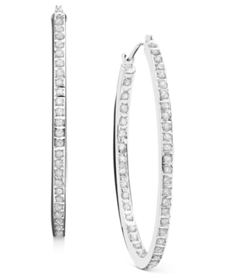 14k White Gold Diamond Accent Oval Hoop Earrings - Diamond Hoops