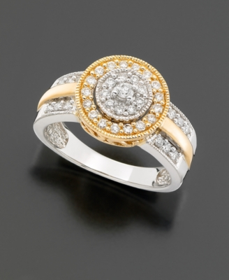 14k Two-Tone Gold Diamond Circle Ring (1/2 ct. t.w.)