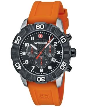 Wenger Men's Swiss Chronograph Roadster Orange Silicone Stra
