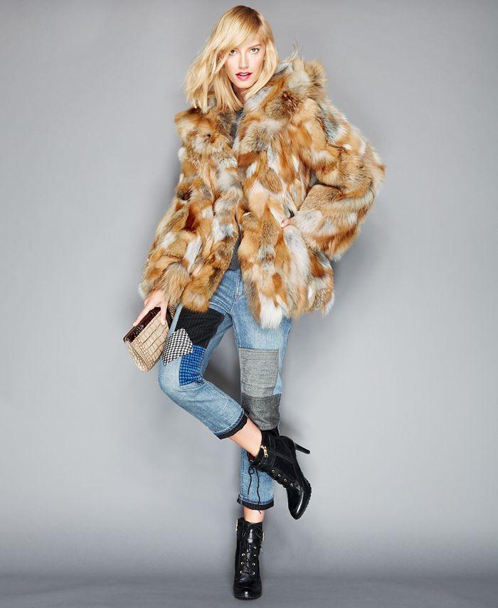 The Fur Vault - Pieced Fox Fur Hooded Jacket