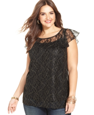 American Rag Plus Size Flutter-Sleeve Lace Top
