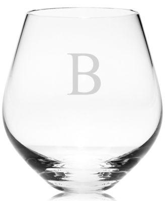 Tuscany Monogram Stemware, Set of 4 Block Letter Stemless Red Wine Glasses