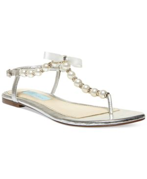 Blue by Betsey Johnson Pearl Flat Thong Sandals Women's Shoes