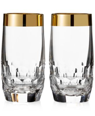 Waterford Mixology Mad Men Edition Draper Highball with Gold Band, Pair