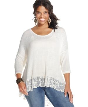 American Rag Plus Size High-Low Lace-Hem Top
