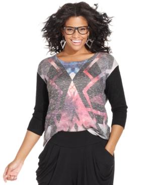 Ing Plus Size Printed Knit Top
