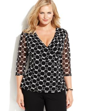 INC International Concepts Plus Size Printed Surplice-Neck Ruched Top