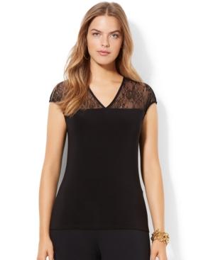 Lauren Ralph Lauren Plus Size Cap-Sleeve Illusion Top